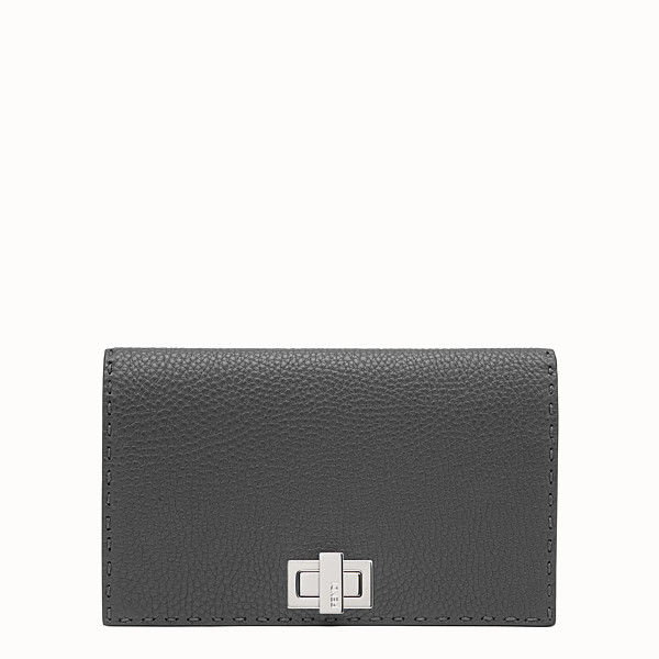 FENDI PEEKABOO MINI CLUTCH - Selleria in grey Roman leather - view 1 small thumbnail