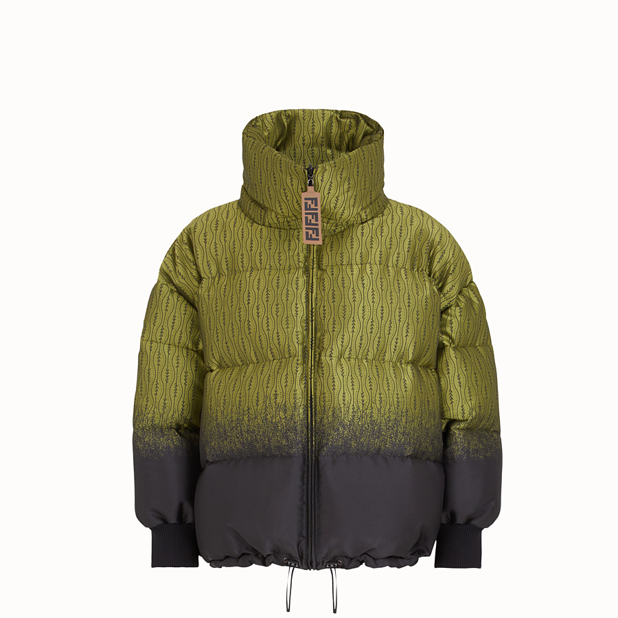 FENDI JACKET - Green nylon down jacket - view 1 detail