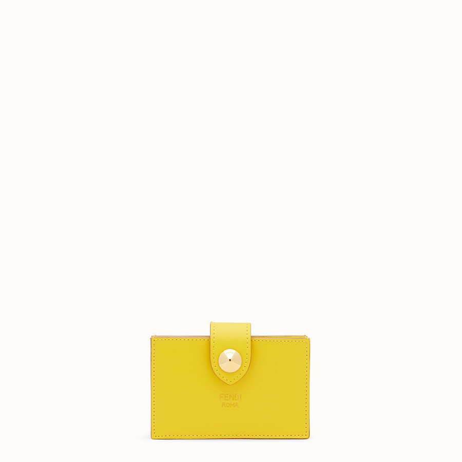FENDI CARD HOLDER - Yellow leather gusseted card holder - view 1 detail