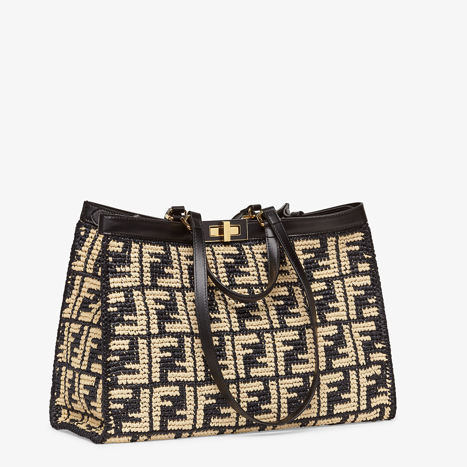 FENDI PEEKABOO X-TOTE - Black FF raffia bag - view 3 detail