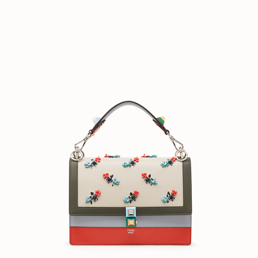 FENDI KAN I - Bag in red leather with embroidery - view 1 detail