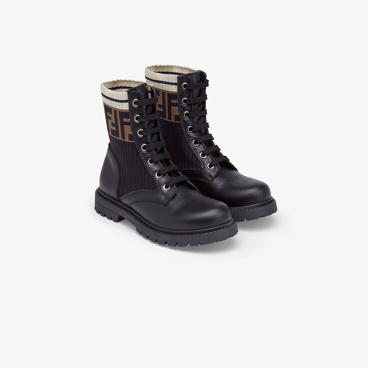 FENDI BIKER BOOTS - Unisex junior biker boots in leather and fabric - view 2 detail