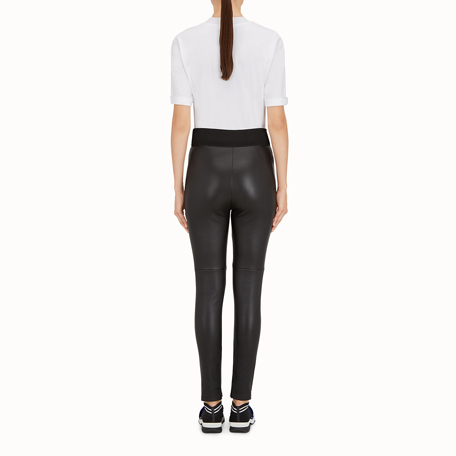 FENDI LEGGINGS - Black leather leggings - view 3 detail