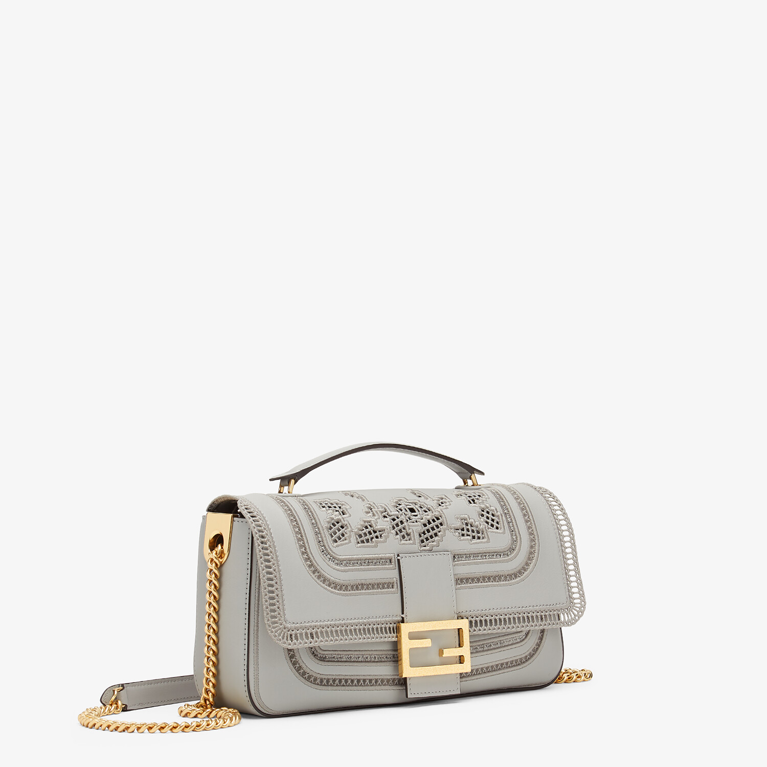 FENDI BAGUETTE CHAIN - Embroidered grey leather bag - view 2 detail