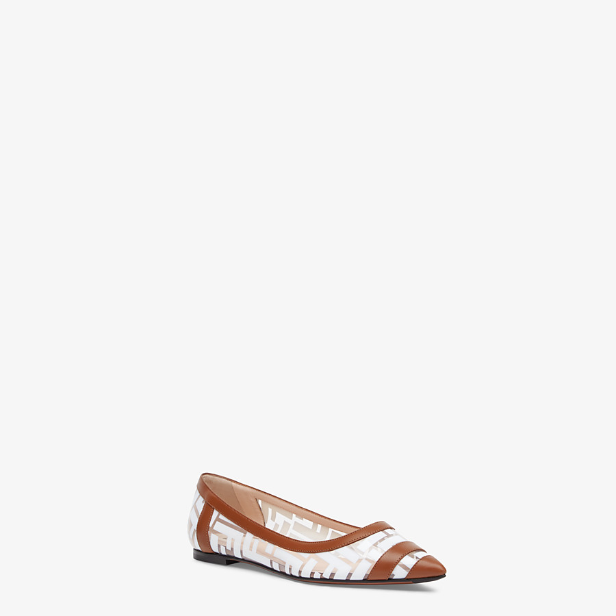 FENDI BALLERINES - Chaussures plates en PU et cuir blanc - view 2 detail