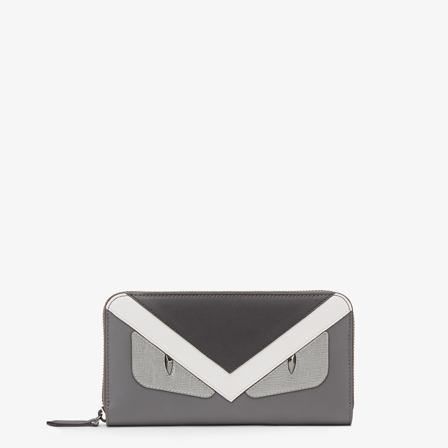 FENDI ZIP AROUND - Zip-around wallet in grey leather with insert - view 1 detail
