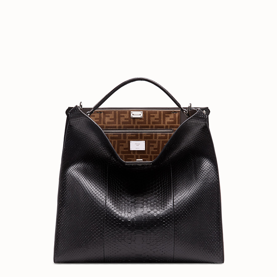 FENDI PEEKABOO X-LITE MEDIUM - Black python leather bag - view 2 detail