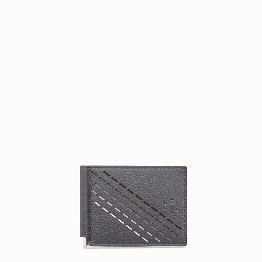 FENDI CARD HOLDER - Grey, calf leather money clip - view 1 detail