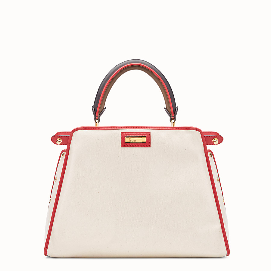 FENDI PEEKABOO DEFENDER - White leather bag with cover - view 4 detail