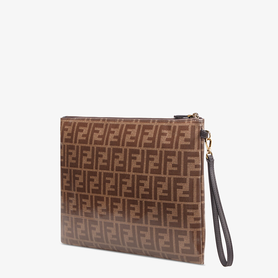 FENDI LARGE FLAT POUCH - Brown fabric pouch - view 2 detail