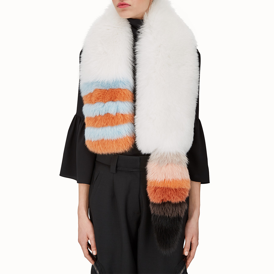 FENDI TALE SCARF - Collar in white fox fur - view 3 detail