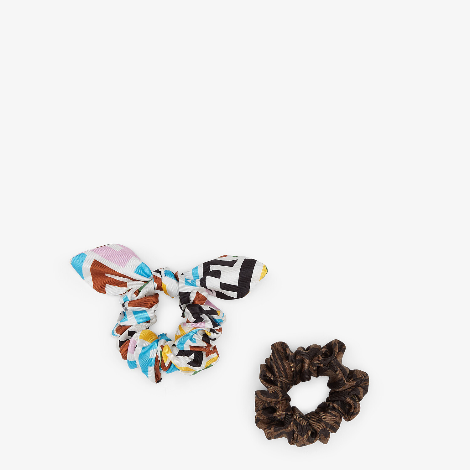 FENDI HAIR ELASTICS - Set of two multicolor twill hairbands - view 1 detail