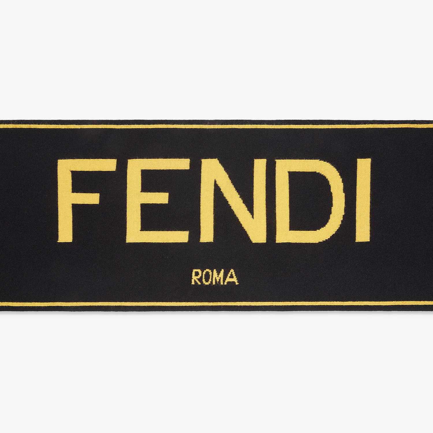 FENDI SCARF - Black cashmere and wool scarf - view 1 detail