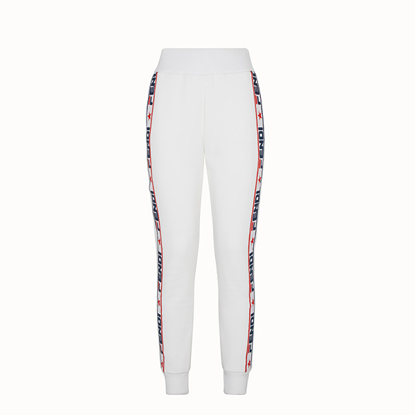FENDI TROUSERS - White fabric tracksuit trousers - view 1 small thumbnail