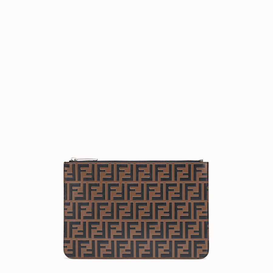 FENDI POUCH - Brown leather slim pouch - view 1 detail