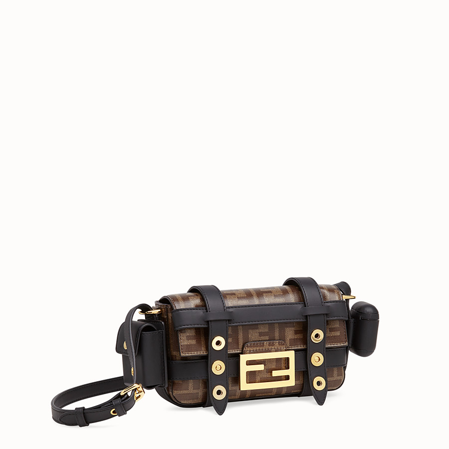 FENDI MINI BAGUETTE WITH CAGE - Multicolor leather and fabric bag - view 4 detail