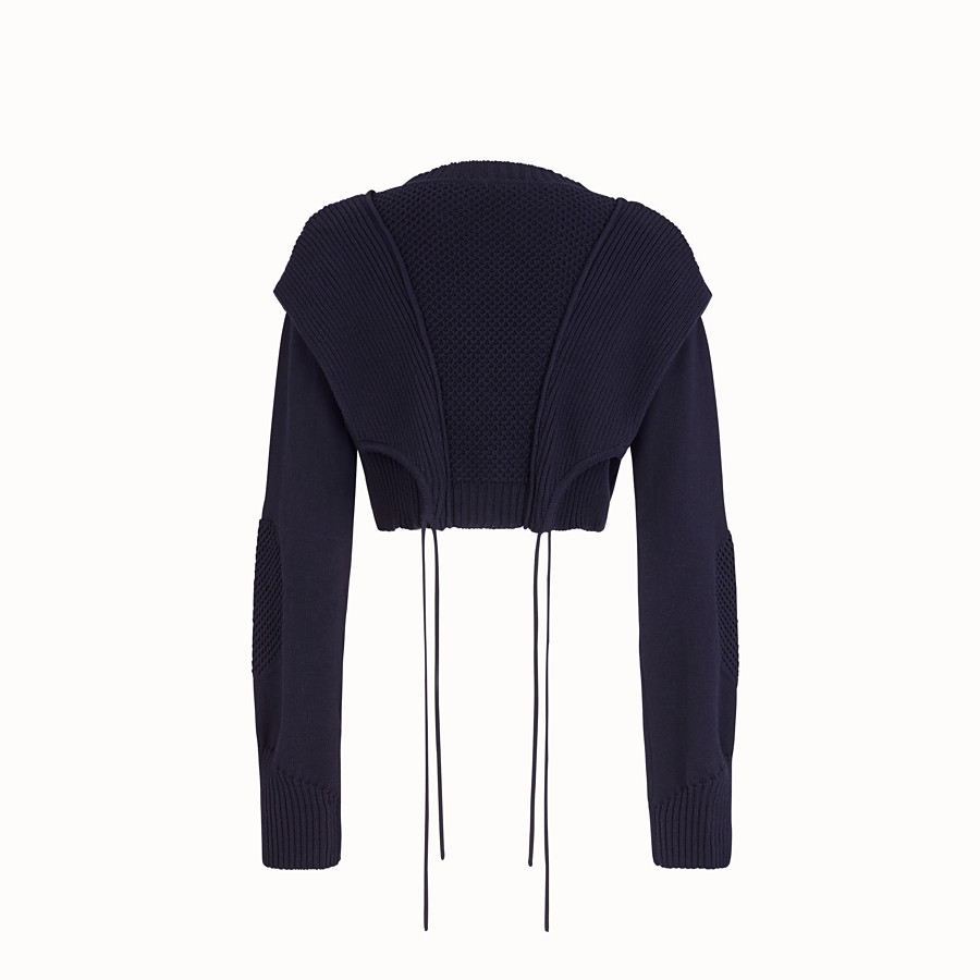 FENDI PULLOVER - Blue cotton sweater - view 2 detail