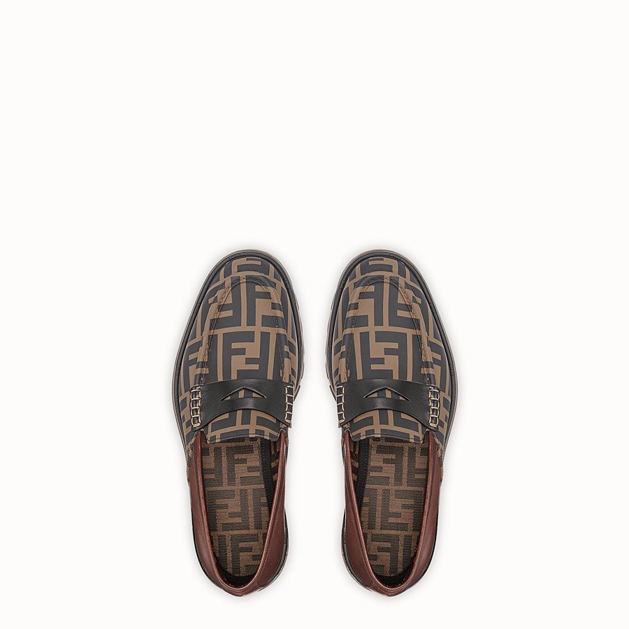 FENDI LOAFERS - Brown leather and TPU loafers - view 4 detail
