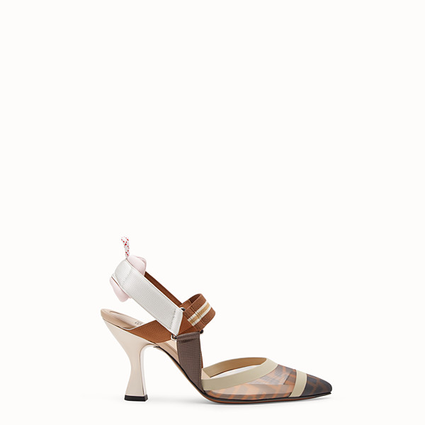 FENDI DÉCOLLETÉ - Slingback in rete tecnica multicolor - vista 1 thumbnail piccola