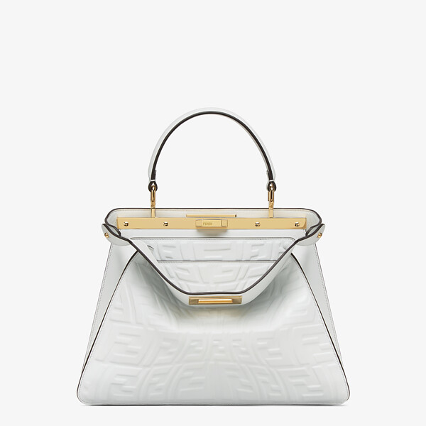 White nappa leather bag with a glow in the dark FF