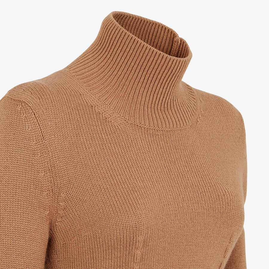 FENDI SWEATER - Brown cashmere sweater - view 3 detail