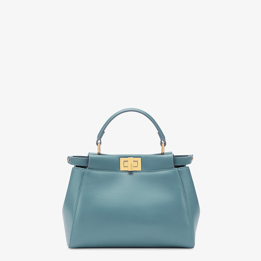 FENDI PEEKABOO ICONIC MINI - Pale blue leather bag - view 1 detail