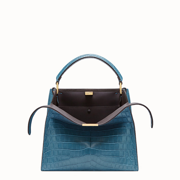 FENDI PEEKABOO X-LITE MEDIUM - Turquoise crocodile bag - view 1 small thumbnail