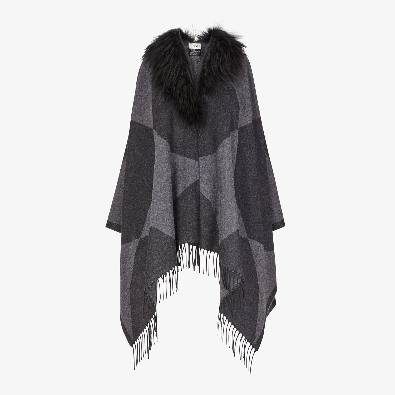 FENDI TOUCH OF FUR PONCHO - Black wool poncho - view 1 detail