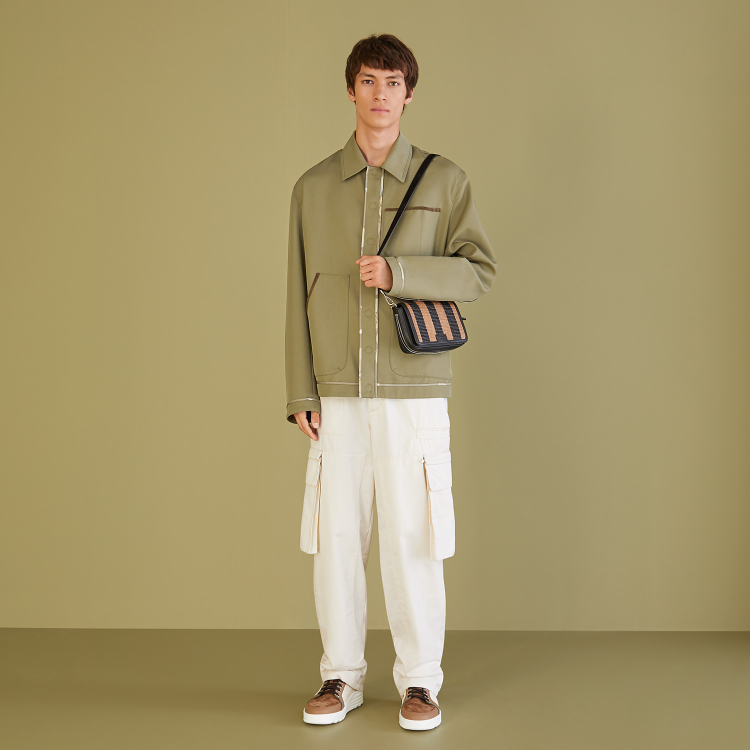 FENDI JACKET - Green twill blouson - view 4 detail