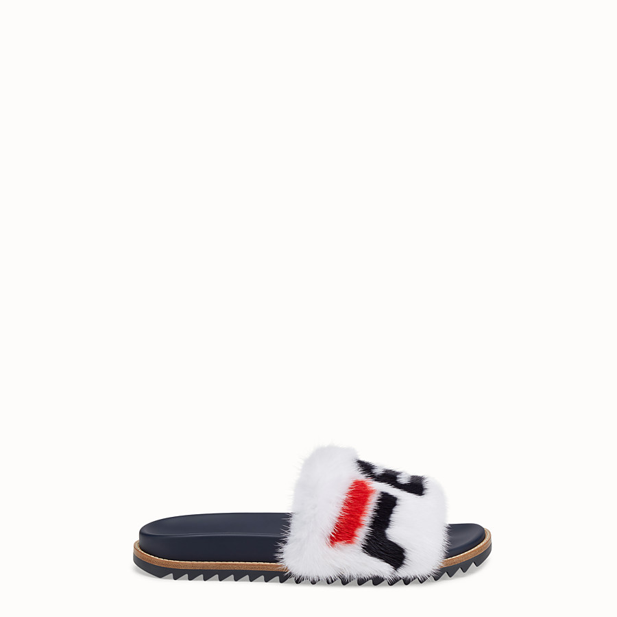 FENDI SLIDES - Multicoloured mink Fussbet sandals. - view 1 detail