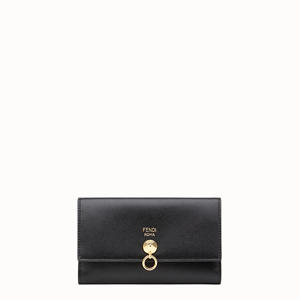 FENDI WALLET - Slim continental wallet in black leather - view 1 small thumbnail