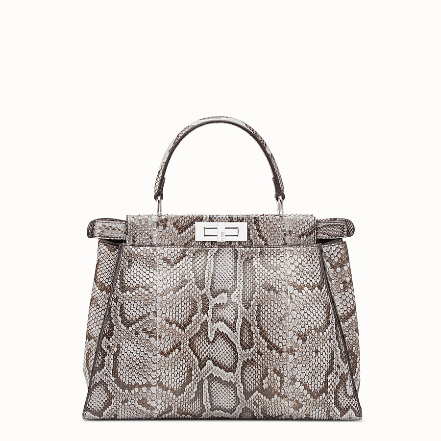 FENDI PEEKABOO REGULAR - Grey python bag - view 3 detail