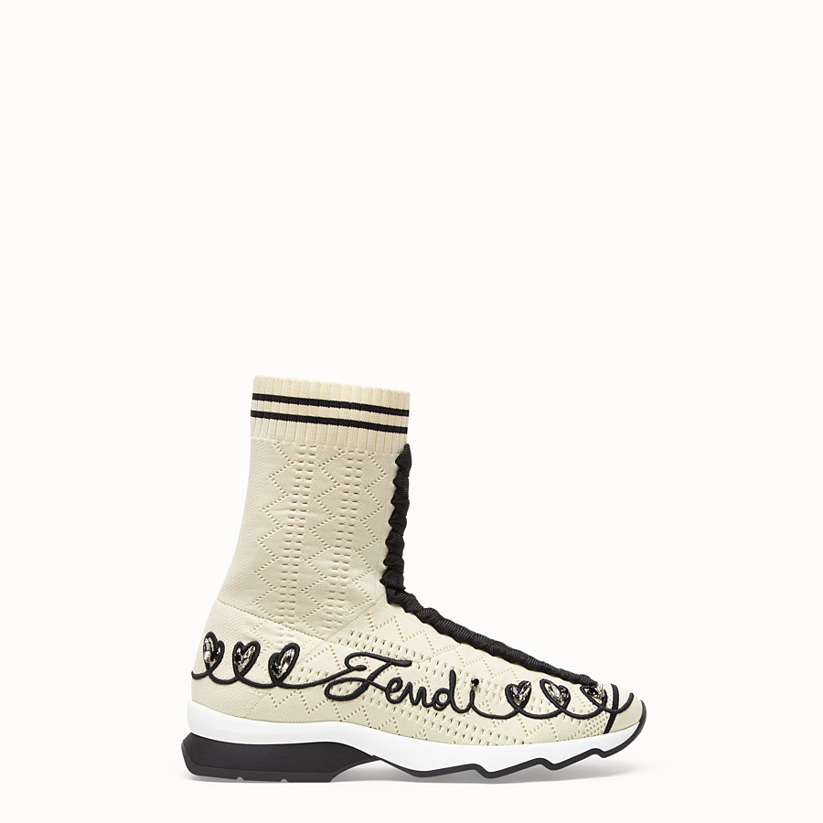FENDI SNEAKERS - Multicolor fabric sneaker boots - view 1 detail
