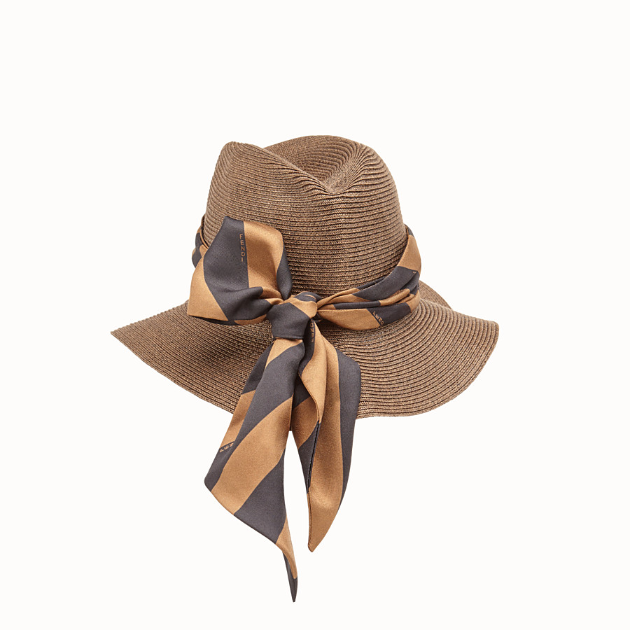 FENDI PACKABLE HAT - Brown straw hat - view 2 detail