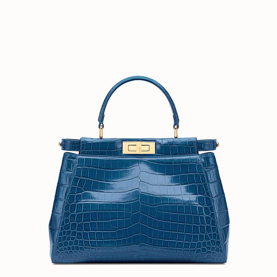 FENDI PEEKABOO REGULAR - Blue crocodile leather handbag. - view 1 detail