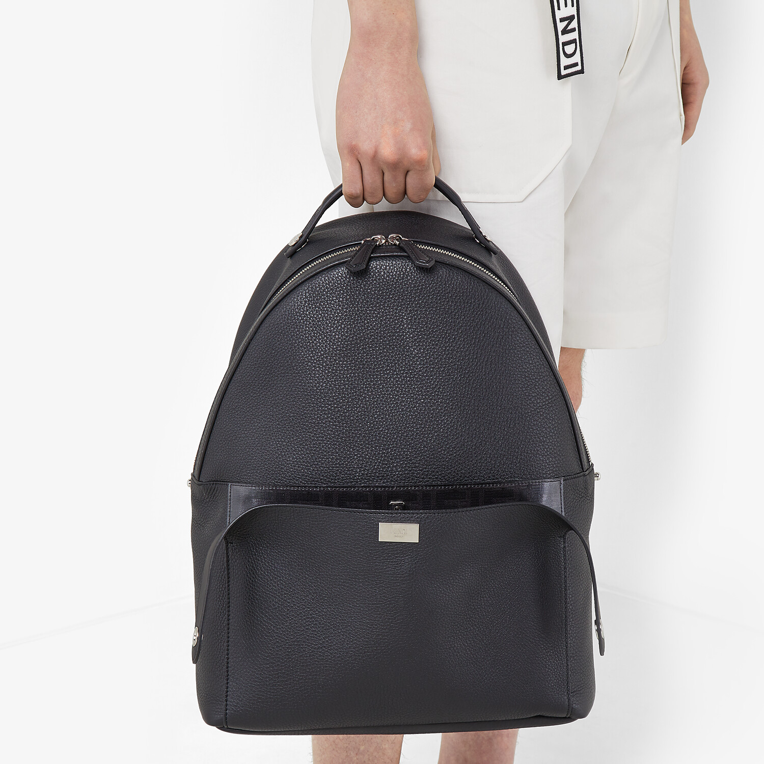 FENDI PEEKABOO BACKPACK - Black leather backpack - view 7 detail