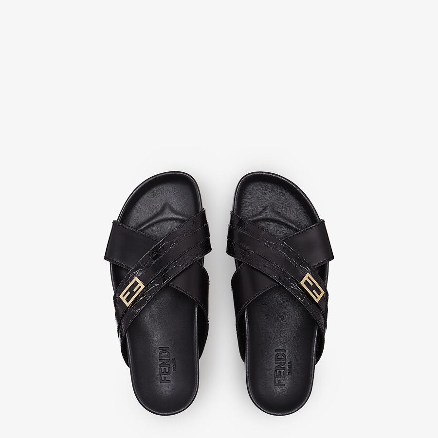 FENDI SANDALS - Black caiman and leather fussbetts - view 4 detail