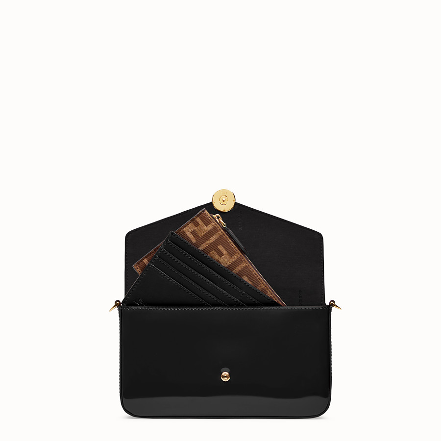 FENDI WALLET ON CHAIN WITH POUCHES - Mini bag in black patent - view 6 detail