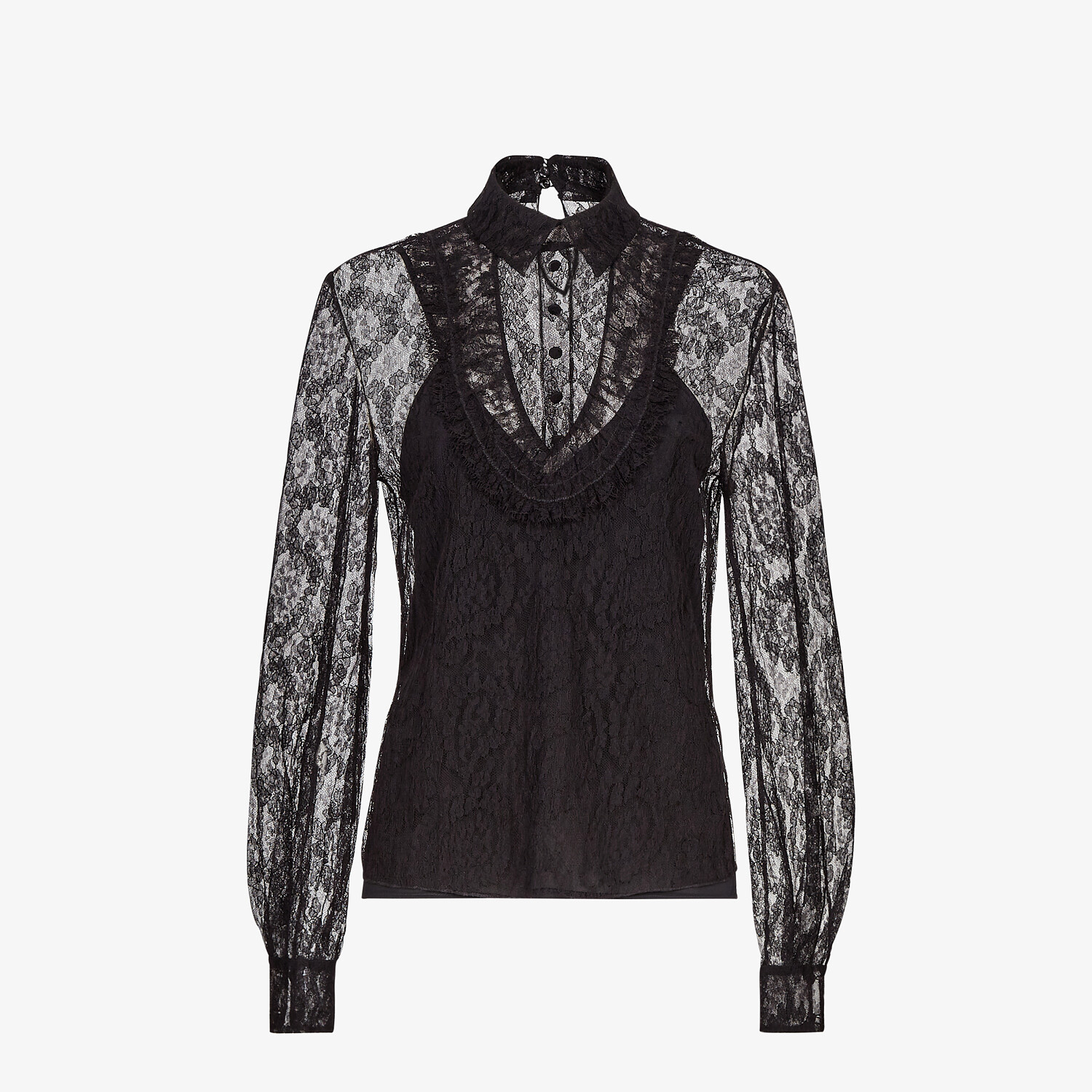 FENDI SHIRT - Black lace shirt - view 1 detail