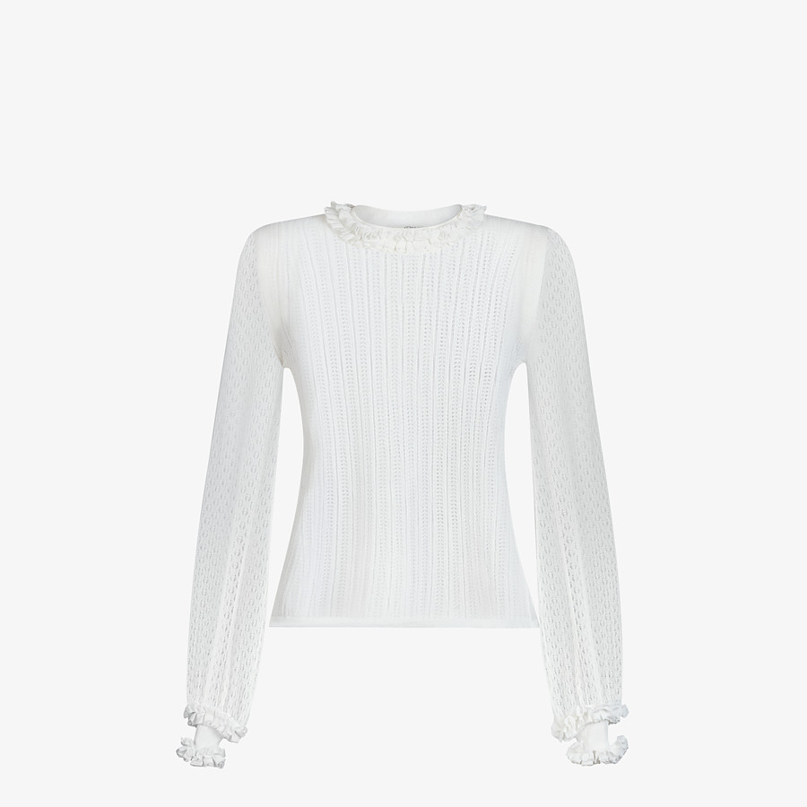 FENDI PULLOVER - White lace jumper - view 1 detail