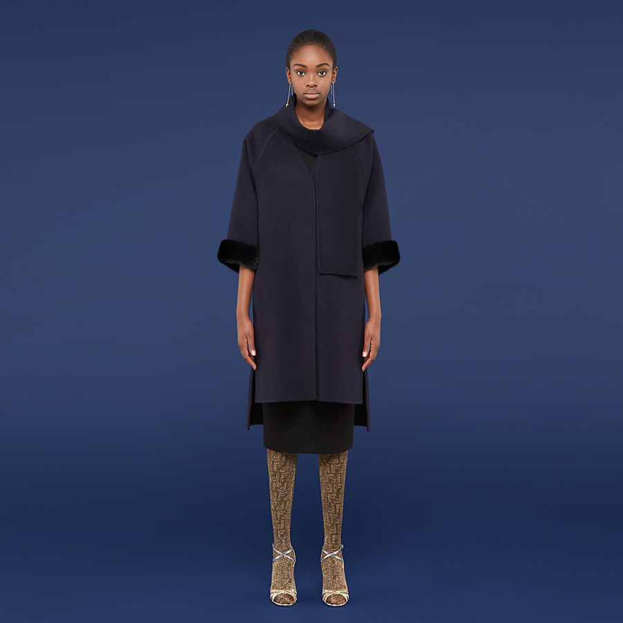 FENDI COAT - Blue cashmere coat - view 4 detail