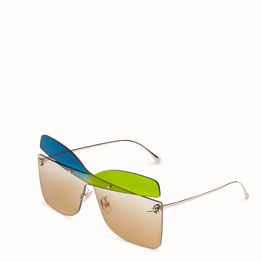 FENDI KARLIGRAPHY - Golden, blue, green-coloured sunglasses - view 2 detail