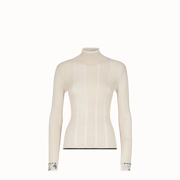 FENDI PULLOVER - Pink silk turtle neck - view 1 small thumbnail