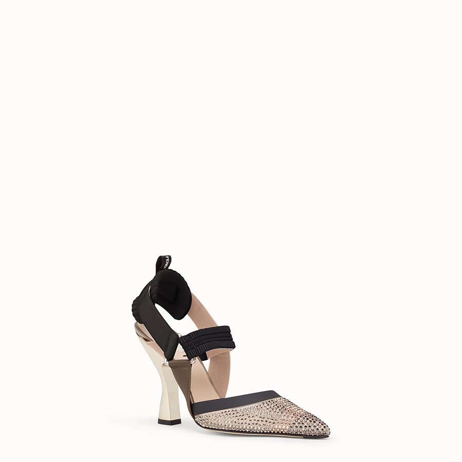 FENDI PUMPS - Beige mesh slingbacks - view 2 detail