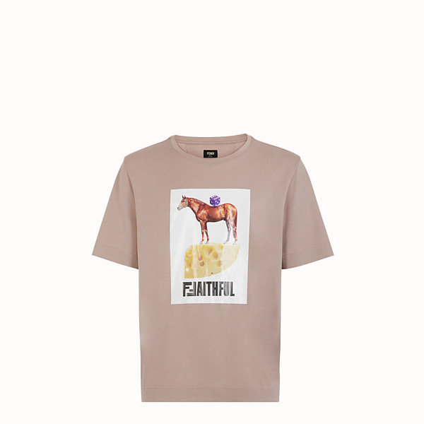 FENDI T-SHIRT - T-shirt en coton rose - view 1 small thumbnail