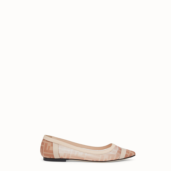 FENDI BALLERINAS - Colibrì in pink mesh and nude leather - view 1 small thumbnail