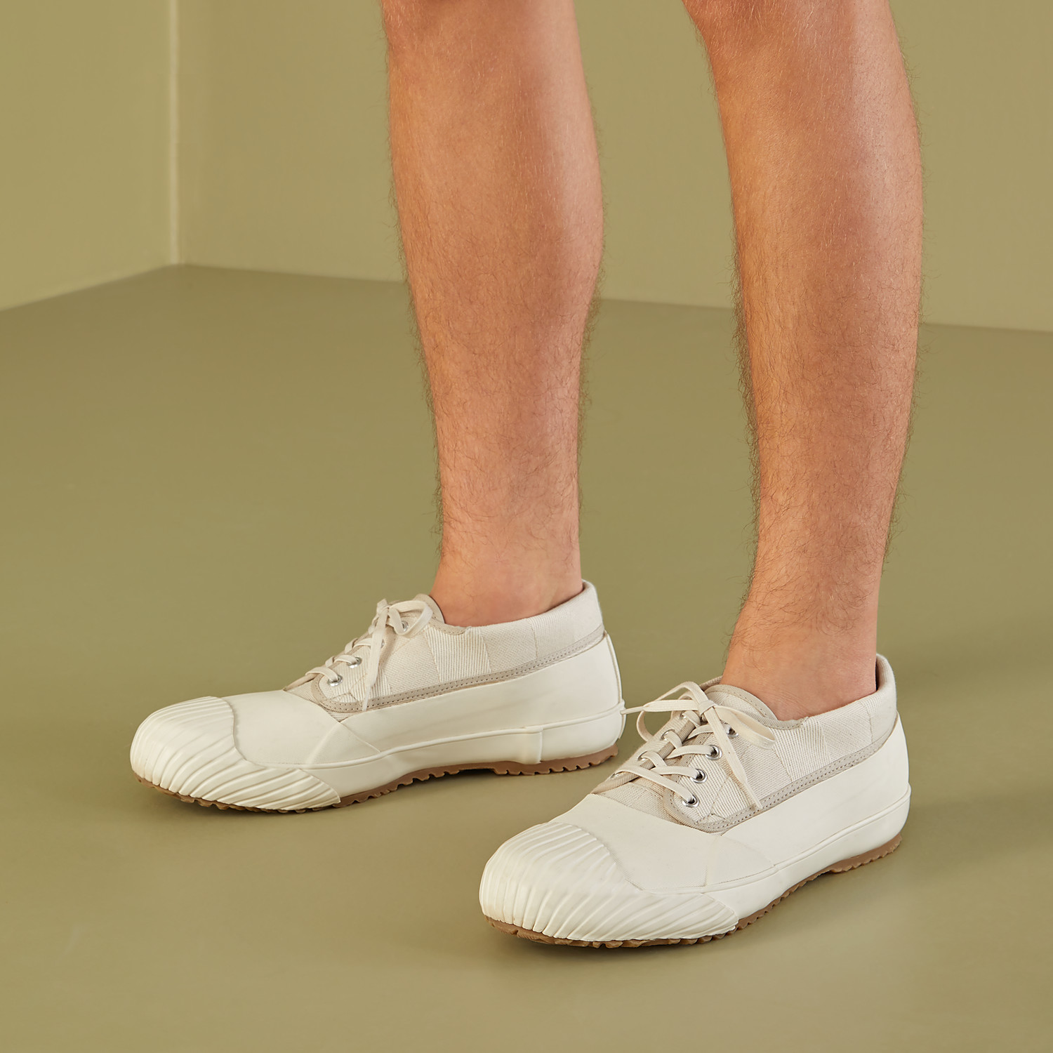 FENDI FENDI AND MOONSTAR SNEAKERS - Low-tops in canvas and white rubber - view 5 detail