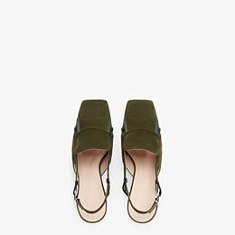 FENDI SLINGBACKS - Green nubuck slingbacks - view 4 thumbnail