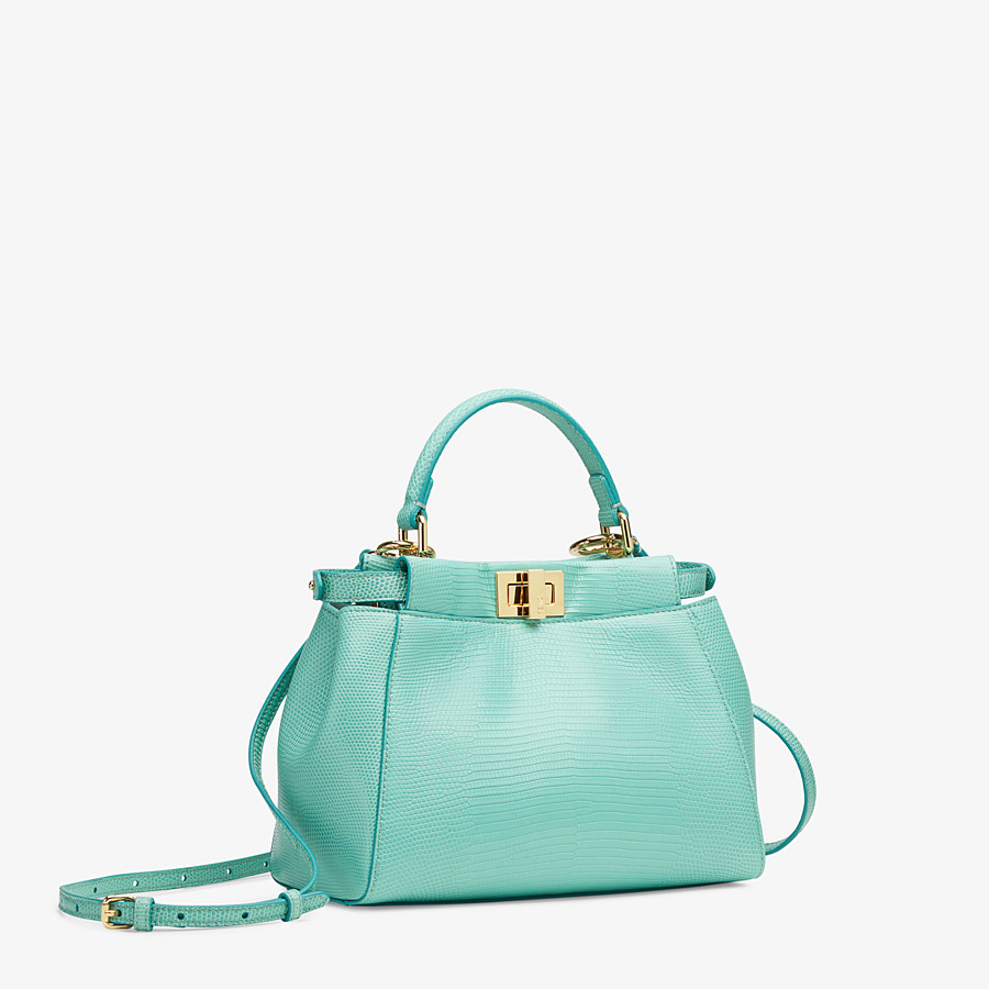 FENDI PEEKABOO ICONIC MINI - Green lizard skin bag - view 2 detail