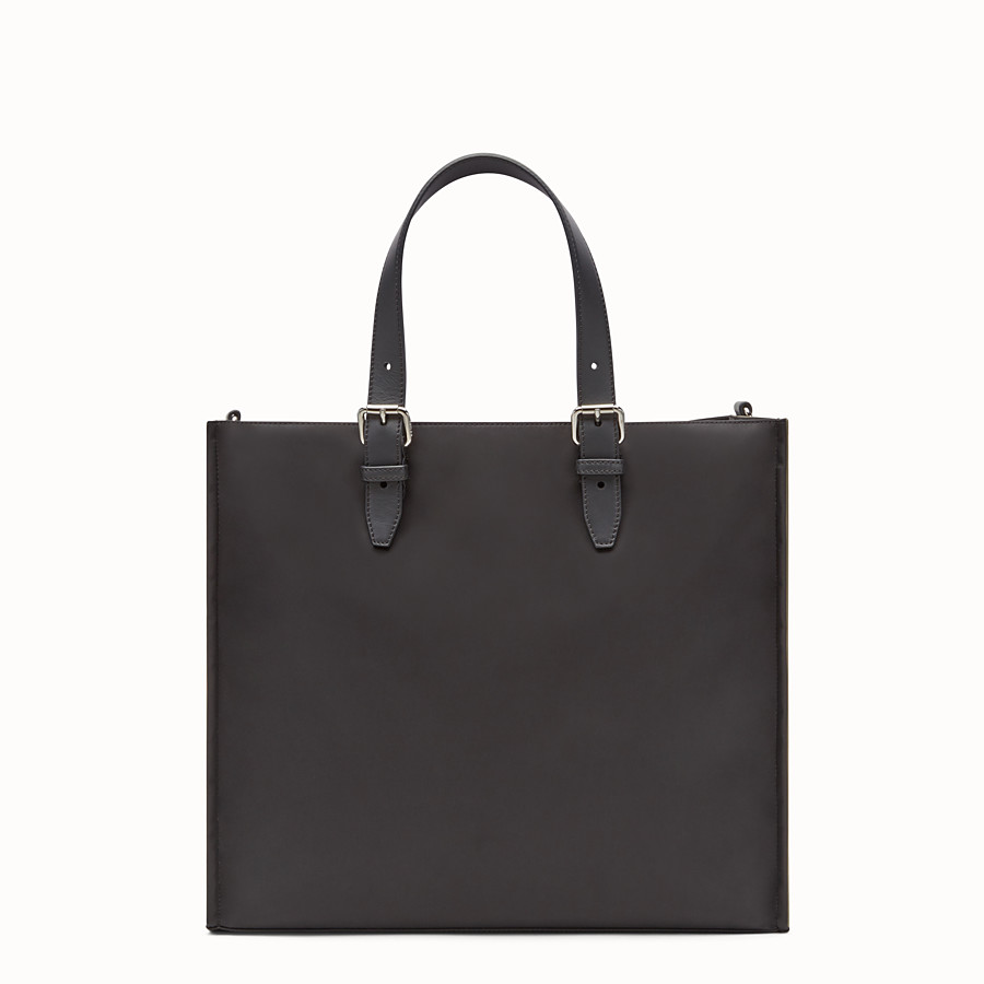 FENDI TOTE BAG - Shopper bag in black nylon and leather - view 3 detail